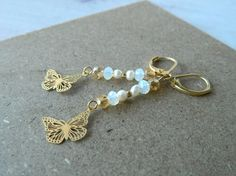 Dangle EarringsbutterflyCrystals and natural by dandiallmyheart
