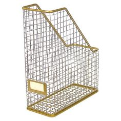 Gold office organization Threshold™ Gold Rustic Wire Magazine Holder