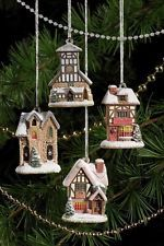 Lilliput Lane - Set of 4 Christmas Hanging Ornaments L3248 - Year 2009