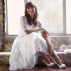 Chaussure mariage ivoire bout ouvert avec fleur Fizz par Else
