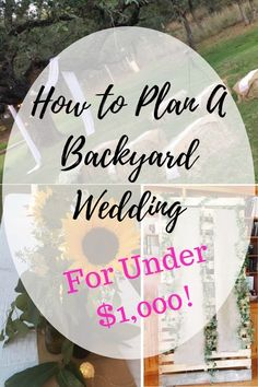 Planning a wedding on a budget? Or maybe just not into the big wedding thing? Check out how we pulled off a cute little backyard wedding for under $1,000! #backyardwedding #weddingonabudget #outdoorwedding #weddingtree #burlapwedding #diyphotobooth #weddingsunflowers #summerwedding