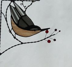 Nuthatch  bird/ stained glass window corner /top by GLASSCORNER, $30.00