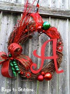 Grapevine monogram wreath. One of my favorites!! By @Christina Childress & Ackley. Get yours now from Rags to Stitches on etsey : )