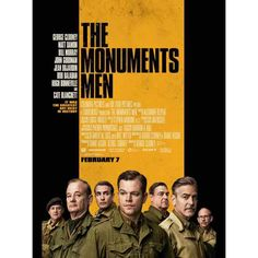 The Monuments Men With George Clooney, Matt Damon, Bill Murray. Written by George Clooney, Grant Heslov, Robert M. Edsel and Bret Witter. Directed by George Clooney. Bill Murray, Matt Damon, Movies 2014, Man Movies, I Movie, Movie Blog, Lego Movie, Latest Movies, George Clooney