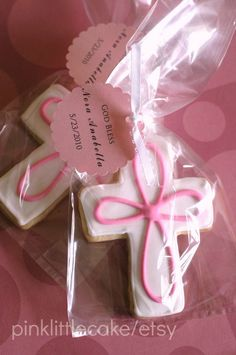 Cross Baptism Cookie Favors for Baby Boy or Baby by pinklittlecake