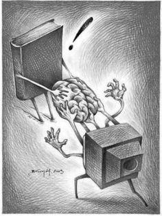 Fight pseudo: books or television / Pelea pseudointelectual: libros o televisión (ilustración de Brunóf)
