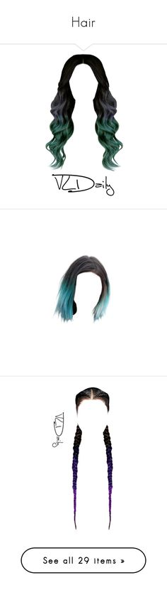 """Hair"" by barbarapalvine22 ❤ liked on Polyvore featuring hair, doll parts, cabelo, doll hair, wigs, dolls, fillers, detail, embellishment and hairstyles"