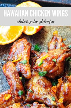 hawaiian food recipes These Hawaiian chicken wings are perfectly sweet and sticky without any refined sugar. They're Paleo, and absolutely delicious. Make them for your next party! Paleo Chicken Wings, Chicken Wing Recipes, Whole30 Recipes Chicken, Turkey Recipes, Paleo Whole 30, Whole 30 Recipes, Whole 30 Meals, Main Meals, Free Recipes