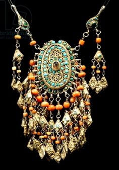 Female chest decoration; silver gilt, coral and turquoise. Uzbekistan, 20th century