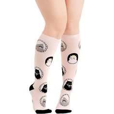Cats I Can See Clearly Meow Socks ($7.99) ❤ liked on Polyvore featuring intimates, hosiery, socks, cream, foundation, knee-high sock, knee high sports socks, knee sport socks, mustache socks and knee socks