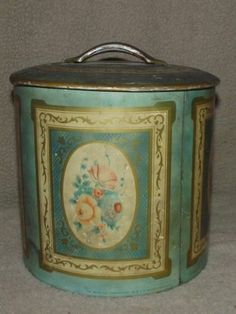 English England Aqua Green Pink Gold Antique Vintage Biscuit Cookie Canister Tin | eBay