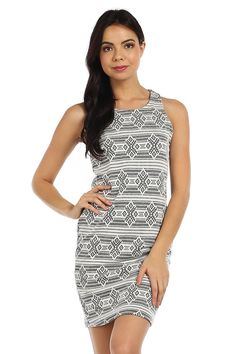 ETHNIC PRINT KNIT SLEEVELESS DRESS