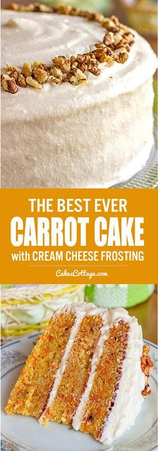 Carrot Cake with Cream Cheese Frosting – Cakescottage Our family favorite carrot cake recipe, with walnuts, pineapple, and a cream cheese frosting. Baking Recipes, Cake Recipes, Dessert Recipes, Appetizer Recipes, Kitchen Recipes, Just Desserts, Delicious Desserts, Yummy Food, Cake With Cream Cheese