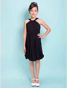 Black Junior Bridesmaid Dress, Sheath/Column Straps Knee-length ...