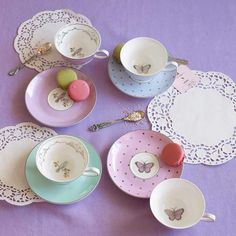 *Miss Darcy* Cups and Saucers With dots, birds and butterflies. So cute <3