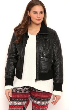 Deb Shops Plus Size Quilted Faux Leather Bomber Jacket and Knit Collar
