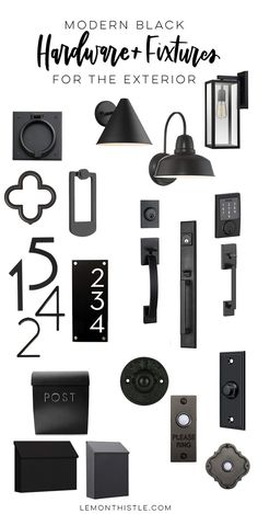 As were working our way through our kitchen remodel and planning for the rest of the house one of the things weve fallen in love with is black hardware. It is such a modern detail and grounds all the white and light that we have going on. Black Exterior Doors, Exterior Door Hardware, Front Door Hardware, Home Hardware, Interior Exterior, Black Doors, Black Door Hardware, Exterior Colors, Modern Farmhouse Exterior