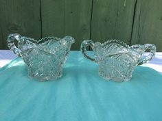 Vintage Imperial Pressed Glass Crystal Nucut Pattern Creamer & Open Sugar Set eBay Listing
