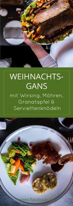 Weihnachtsgans mit Wirsing, Möhren, Granatapfel und Serviettenknödeln › foodistas.de