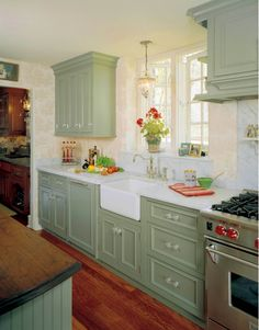 Green Kitchen Ideas, More: Sage Green Kitchen Cabinets, Green Kitchen Cabinets Painted, Green Kitchen Ideas Decor, Small. Kitchen Cabinet Colors, Home Kitchens, Kitchen Design, Kitchen Decor, Country Kitchen, Cottage Kitchen Cabinets, New Kitchen, English Country Kitchens, Green Kitchen Cabinets