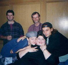 "Leonardo DiCaprio, Darlene Cates and Johnny Depp on the set of ""What's Eating Gilbert Grape"""