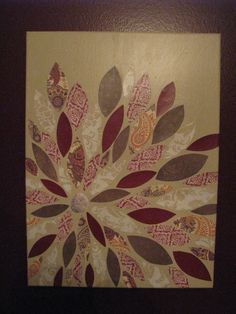 """This was fun and easy to do!  Made it at our first Pinterest Party.  Paint canvas, cut scrapbook paper, lay out, modge podge under each piece to """"glue"""" down, heavy layer of matte modge podge to cover entire canvas.  Success!"""