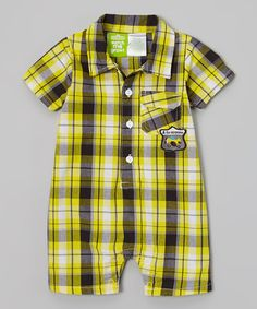 Loving this Yellow 'A is for Airplane' Plaid Polo Romper - Infant on #zulily! #zulilyfinds