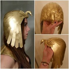 Cleopatra headdress, made from foil, painters tape, sculpey, card stock, and gold spray paint. #halloween #diy #gold