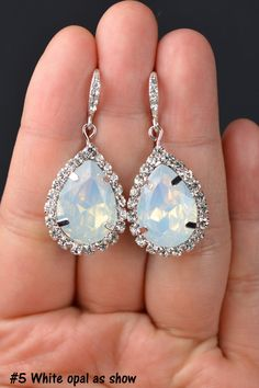 Opal Bridesmaid jewelry white opal drop by thefabbridal3 on Etsy