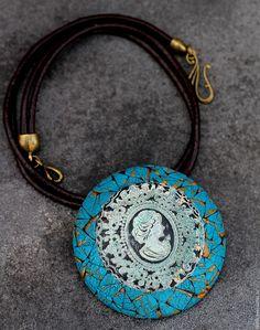 Купить украшение кулон из полимерной глины камея в бирюзе - тёмно-бирюзовый, таня майорова, кулон