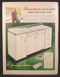 Magazine Ad For Youngstown Kitchens Steel Diana Cabinet Sink, White . Retro Kitchen Tables, Vintage Kitchen Sink, Metal Kitchen Cabinets, Kitchen Redo, Kitchen And Bath, Retro Kitchens, 1950s Kitchen, Kitchen Remodel, Vintage Appliances