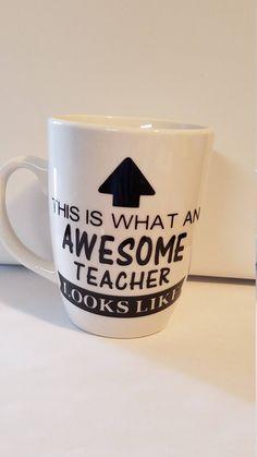 Awesome Teacher Coffee Mug Decal Teacher Appreciation End of School Gift Mugs Sayings by BigfootVinyl on Etsy