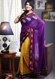 Buy Indian Sarees, Salwar Kameez, Lehenga & Ghagra Choli Collection of Designer and Bollywood Sarees, Wedding and Bridal Sarees, Embroidery Sarees Indian Designer Sarees, Indian Sarees Online, Buy Sarees Online, Indian Outfits, Indian Clothes, Party Wear Sarees, Bollywood Fashion, Sari, Purple Yellow
