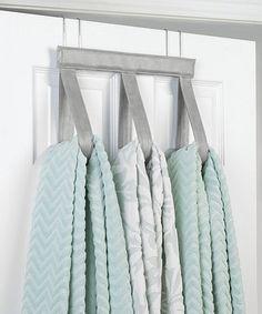 Gray Faux Leather U0026 Steel Over Door Towel Hanger