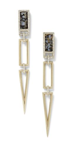 Monique Péan fossilized dinosaur bone open link earrings in recycled white gold, with white diamond pavé ($9,660).