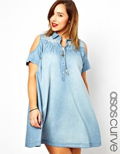 If this dress had entire sleeves, I might be down. As it is... ASOS CURVE Embroidered Cold Shoulder Denim Dress