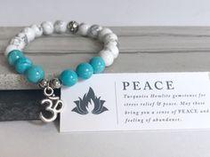 Yoga gemstone bracelet, gemstone bracelet for sister, inspirational healing bracelet, ohm beaded bracelet, turquoise bracelet for women by personalherogifts on Etsy https://www.etsy.com/listing/476451213/yoga-gemstone-bracelet-gemstone-bracelet