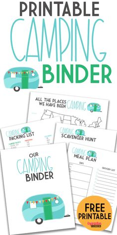Grab these free camping printable to help you stay organized when planning your next camping trip! This free camping binder included a camping packing list, scavenger hunt, meal planning printables, a Camping Ideas, Camping Meal Planning, Rv Camping Checklist, Rv Camping Tips, Travel Trailer Camping, Camping List, Camping With Kids, Camping Activities, Camping Axe