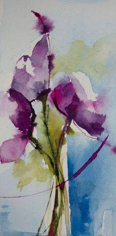 Petit instant N° 309 (Painting),  20x10 cm par Véronique Piaser-Moyen Aquarelle originale sur papier 300 G: