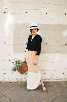 Miss Moss : Hackwith Design House  black button down tied at waist, cream and tan maxi skirt, flat sandals, white hat witgh black band