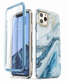 iPhone 11 Pro Max Marble Case with Built-in Screen Protector