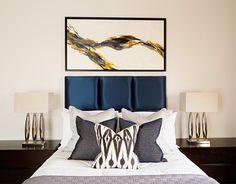Bedroom #WallArt #ALondonAccouter #SideTables #Lamps #Luxurybedrooms #LuxuryLiving #Bedroom #Blue #Headboard #LuxuryLinen