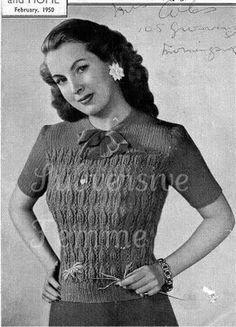 free knitting pattern women's Leaf Pattern & Ribbing Jumper 1950 Woman and Home