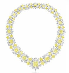 A COLORED DIAMOND AND DIAMOND NECKLACE, BY GRAFF   Set with a graduated series of modified rectangular, cushion and square-cut fancy yellow and fancy light yellow diamonds, to the pear-shaped diamond band, mounted in platinum and gold, 14½ ins., in a Graff navy leather case  Signed Graff, no. 4093
