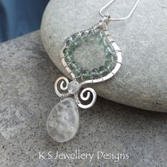 Moss Aquamarine, Moonstone, Rock Crystal Sterling Silver Arabesque Spiral Pendant - GENIE ICE DROP - Handmade Wire Wrapped Wirework Jewelry. $80.00, via Etsy.