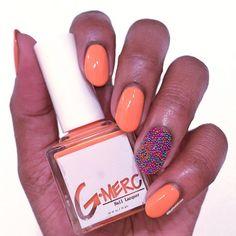 Ocean Dr. peach creme summer vegan 5-free nail polish by G-Merc. Ciate caviar accent nail. Swatch by @WhatOneGirlLoves via Instagram