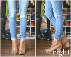 It's casual, easy, and is a perfect way to create a little separation between your jeans and your boots. Also, make sure you let your ankle peek out a bit since that little sliver of skin will help visually elongate your leg.