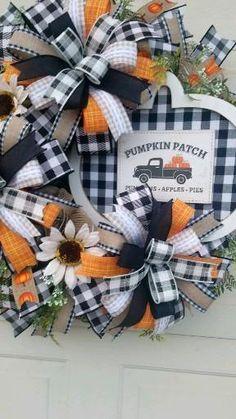 Fall Deco Mesh, Buffalo Plaid, 4th Of July Wreath, Christmas Wreaths, Pumpkin, Holiday Decor, Home Decor, Pumpkins, Decoration Home
