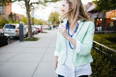 [Mint Blazer: Gap outlet (old); White Shirt: Forever Jeans: 7 for All Mankind; Necklaces: and Banana Republic outle. Mint Blazer, Seersucker Jacket, Cobalt Blue, Necklaces, My Style, Coat, Jackets, Shirts, Outfits
