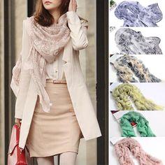 Women Fashion Pretty Long Soft Chiffon Scarf Wrap Shawl Stole Scarves Hot…